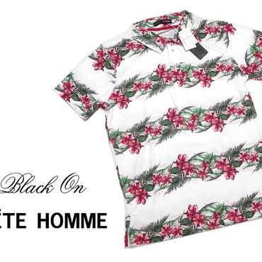 夏を全身で着る|新品|Black on TETE HOMME(テットオム)| パイル地 花柄ポロシャツ(赤)|サイズ:L(細身のためM〜Lサイズ相当)|メンズ [000020150648]