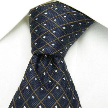 当店オーナーオススメ【TRADITIONAL(AINEXX扱い)】綺麗な織目のクロスストライプ・ネイビー系ネクタイ【USED】0112