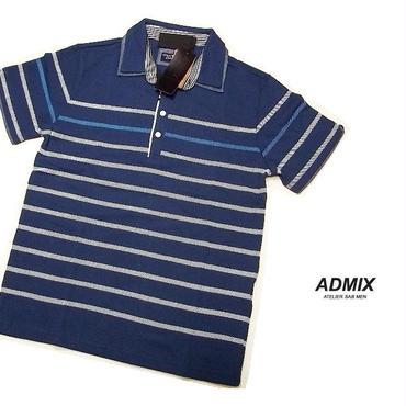 ディテイルにもこだわったお洒落な1着|新品|ADMIX アトリエサブ|2枚衿ボーダー柄ブルー系|半袖ポロシャツ|サイズ:M(細身のためS〜Mサイズ相当)|メンズ [2200000502650]