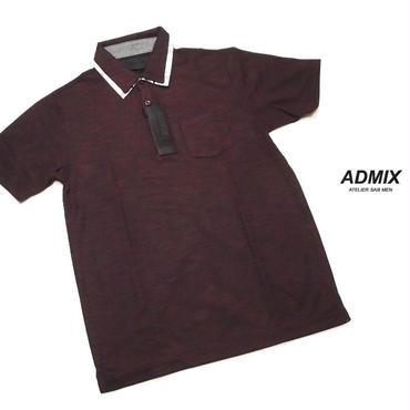 シックな装いが好きな男性のためのポロシャツ|新品|ADMIX アトリエサブ|2枚衿ボーダー柄エンジ系ポロシャツ|表記サイズ:M(細身のためS〜M相当|メンズ [000020151539]