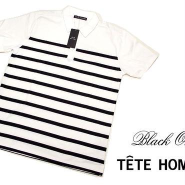 基本のボーダーポロ|新品|BLACK ON TETE HOMME(テットオム)|ホワイト&ブラック系半袖ポロシャツ|サイズ:L(細身の作りのためM〜L相当)|メンズ [000020151591]