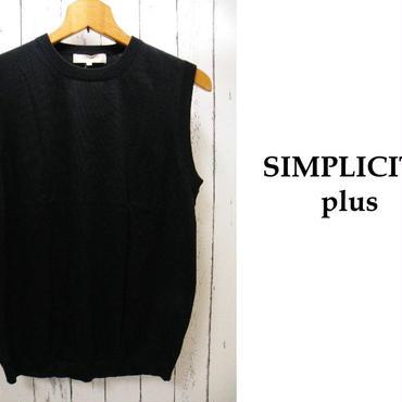 シルクタッチの上質な肌触りが◎ 新品 SIMPLICITE plus(シンプリシティプラス)ブラック(黒)ベスト|サイズ:40(M程度) 綿100%|メンズ