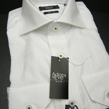 送料200円同梱OK【新品/長袖】アダム&イヴ  形態安定  シャドーストライプ ホワイト(白)長袖Yシャツ (襟周り41cm-80)|ワイシャツ|2200000376367