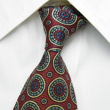 茶系スーツに◎【F.VERGANO】イタリアパターンデザインネクタイ【エンジ・ブラウン系】【USED】1122