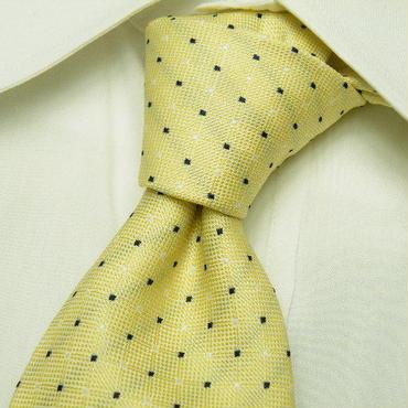 テフロンのシミ防止加工【Franco Vieri(グッドスタッフ扱い)】織り柄の綺麗なピンドット&ストライプイエローネクタイ|黄色系|USED|171103