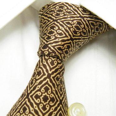 茶系&ブラック系スーツに◎【Lucky trone(日本製)】ブラウンゴールド 総柄ネクタイ|茶金系|USED|171103