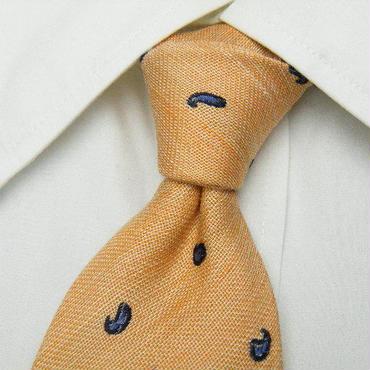 小さなペイズリー刺繍が素敵!【FARIANI GERMANY】オレンジクリーム系ネクタイ【USED】0124