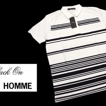 基本のホワイトポロシャツ|新品|BLACK ON TETE HOMME(テットオム)|ストライプ入りホワイト半袖ポロシャツ|サイズ:M(細身の作りのためS〜M相当)|