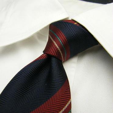 【USED】紺ベースの基本のレジメンタルネクタイ シルク100% 【ネイビー紺系】