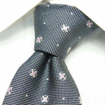 オーナーお薦めの1本|JUNKO SHIMADA(ジュンコシマダ) 小紋柄 シルバー系ネクタイ |銀 × ピンク|美品|シルク100%|682222785731