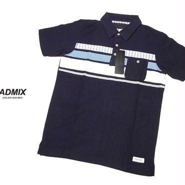 さらっとした着心地が◎|新品|ADMIXアトリエサブ|ポケット付きマルチボーダー柄 半袖ポロシャツ|サイズ: M(細身のためS〜M相当)|メンズ [2200000511515]