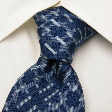 トラディショナルデザイン【アルプスカワムラ扱い】幾何学模様柄ブルー系ネクタイ【USED】0204