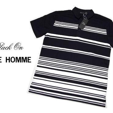 基本のネイビーポロシャツ|新品|BLACK ON TETE HOMME(テットオム)|ストライプ入りネイビー系半袖ポロシャツ|サイズ:L(細身の作りのためM〜L相当)[2200000505026]