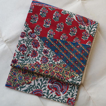 【ふくろ帯】更紗柄紬地洒落袋帯