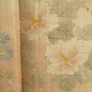 【単衣】洗柿(あらいかき)色夏花柄単衣紬