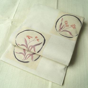 【ふくろ帯】木屋太製 生成り地 植物文 洒落袋帯