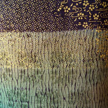HOLD中【袷】紫鳶色と濃鼠色 木目絞り附下げ