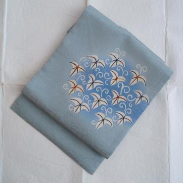 【なごや帯】水あさぎ色蔦文染めなごや帯