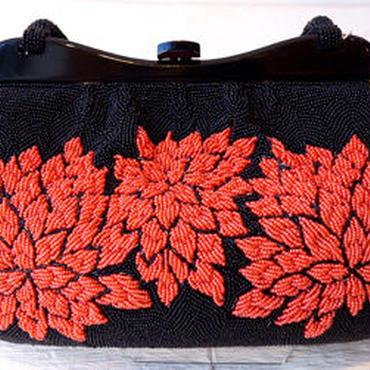 【バッグ】赤と黒のビーズバッグ