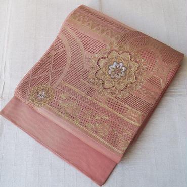 【ふくろ帯】洗朱(あらいしゅ)色スワトー刺繍と螺鈿づかいのふくろ帯