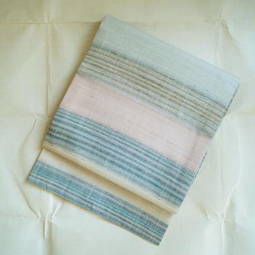 【袋帯】淡色横段紬地洒落袋帯