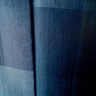 【単衣】大格子カラフル墨黒紬