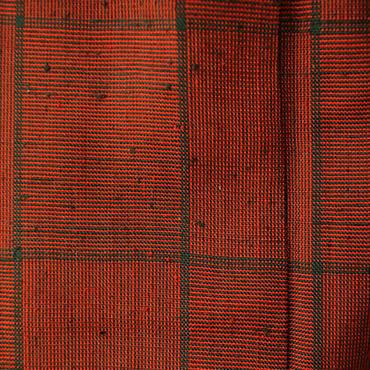 【単衣】煉瓦色格子柄ざざんざ織り