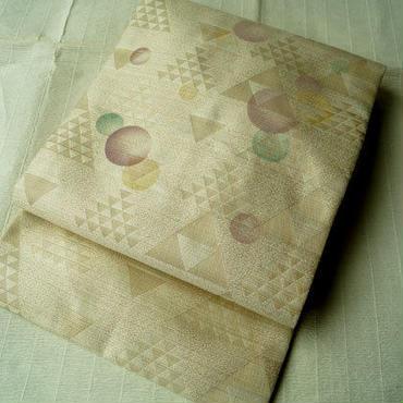 【なごや帯】 シャンパンカラ- 幾何学文 色が変化する帯