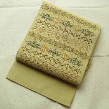 【なごや帯】薄草色花織なごや帯