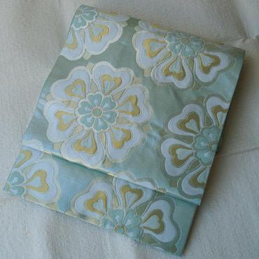 【ふくろ帯】ミントグリーンの輝き 花文様袋帯