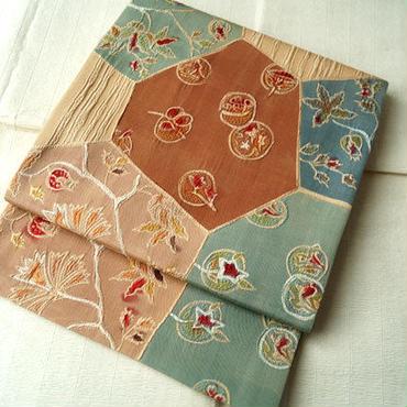 【ふくろ帯】 植物文裂りばめ風 ふくれ織洒落袋帯