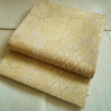 【ふくろ帯】生成り地 金モール糸 ゴブラン織のような織地