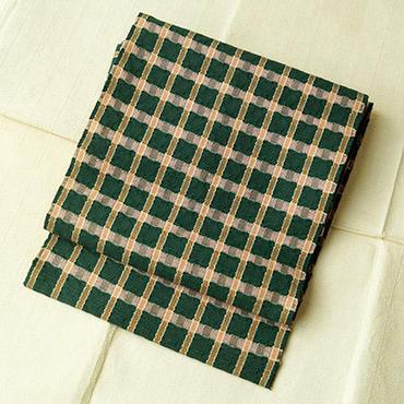【なごや帯】深緑色に格子柄なごや帯