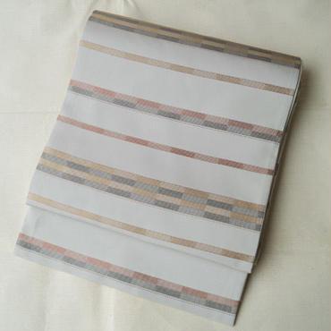 HOLD中・【ふくろ帯】灰白色(かいはくしょく)横段文ふくろ帯  長尺