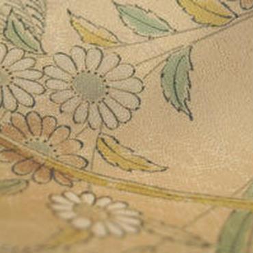 【袷・アウトレット】 ベージュ地 植物柄 小紋