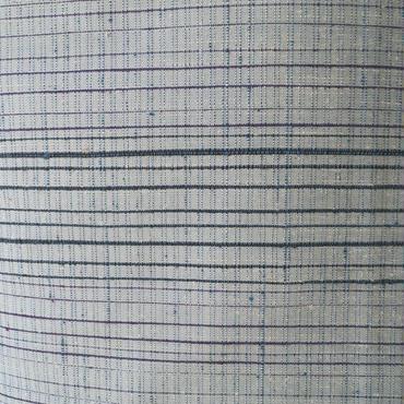 【袷】白藍系 横段の紬