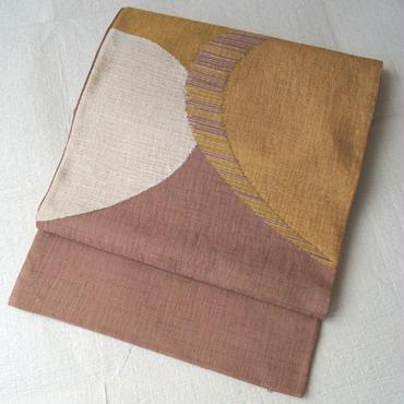 【ふくろ帯】アースカラー抽象柄 紬地洒落ふくろ帯