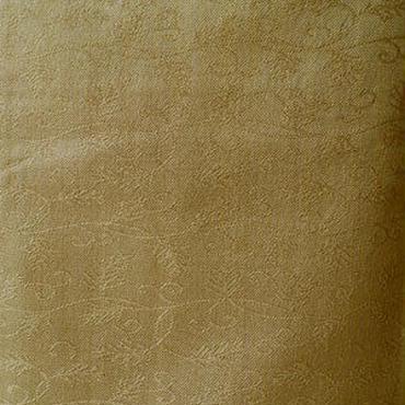 【袷】唐草地紋の山吹茶色無地紋織り