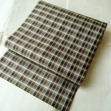 【なごや帯】 ブラウン系織り格子柄 開き名古屋帯