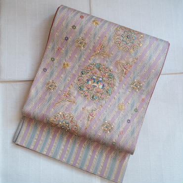 【ふくろ帯】鳥と花丸文組み紐織のふくろ帯