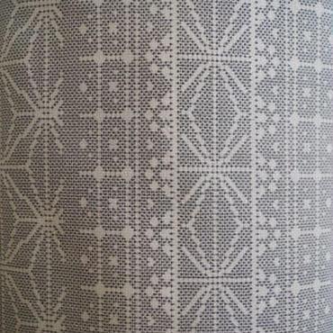 【袷】麻の葉や幾何学柄の白大島
