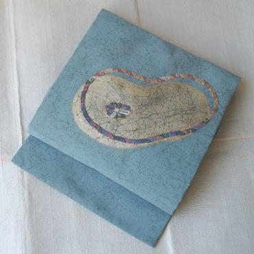 【なごや帯】ターコイズ系箔と刺繍の抽象文なごや帯