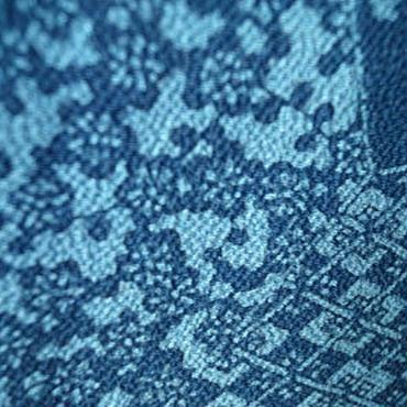 【袷】藍色 型染め 小紋