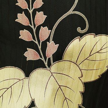 【袷羽織】黒地縞透かし桐柄羽織
