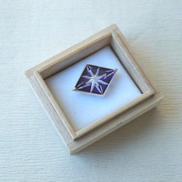 【帯留】小川郁子作 江戸切子帯留 紫色 「星」(菱形)