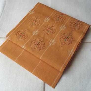 【なごや帯】からし色華文様の紬八寸なごや帯
