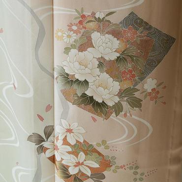 【単衣】珊瑚色流水と四季花の単衣附下