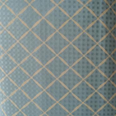 【袷】明るい空色 変わり斜め格子の小紋