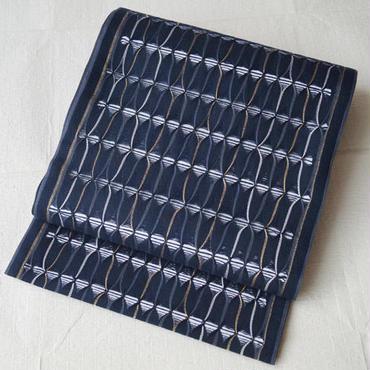 【ふくろ帯】ネイビーカラー捩り織り風洒落ふくろ帯