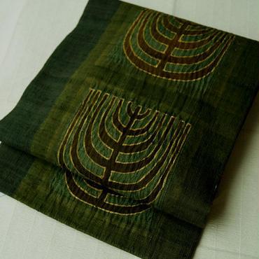 【なごや帯】紬地深緑色 抽象文と絞り染め